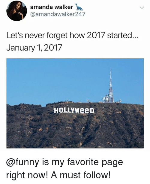 Funny, Meme, and Never: amanda walker  @amandawalker247  Let's never forget how 2017 started.  January 1, 2017  HOLLYWeeD @funny is my favorite page right now! A must follow!