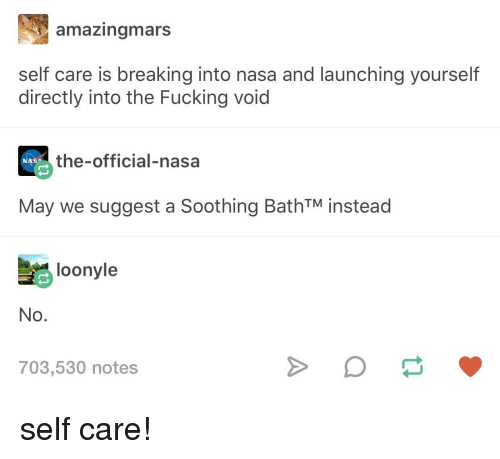 Fucking, Nasa, and May: amazingmars  self care is breaking into nasa and launching yourself  directly into the Fucking void  the-official-nasa  NASA  May we suggest a Soothing BathTM instead  loonyle  No.  703,530 notes self care!