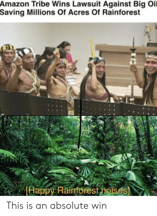 Amazon, Happy, and Big: Amazon Tribe Wins Lawsuit Against Big Oil  Saving Millions Of Acres Of Rainforest  Happy Raintorest noises) This is an absolute win