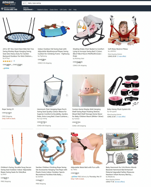 "Children, Climbing, and Sports: amazonca  prime  Allbaby rope swing  Deliver to Vladimir  Toronto M4C 4K6  Shop by  Department  Vladimir's Store Deals Store Gift Cards Sell Help  24""or 40"" Disc Giant Nest Web Net Tree ndoor Outdoor Kid Swing Seat with  Swing Monkey Rope Hanging Swing  Seat Sets Heavy Duty For Garden  Backyard Outdoor For Kids Children...  by Hi Suyi  Adjustable Weatherproof Ropes Swing  Cushion for Climbing Frame - Fightsong  by Fightsong  Shading Shake Chair Basket to Comfort  Lying to Increase Swing Bed 3 Colors  80cm*48cm*62cm MUMUJIN (Color:  Pink)  by Rocking chair  Soft Relax Restrict Pillow  by LANYHU  More buying choices  CDN$ 29.99 (1 new offer)  CDN$5850  CDN$ 5.54 shipping  CDN$24696  CDN$ 3.95 shipping  CDN$4999 CDN$13885  prime  Rope Swing 31  CDN$1155  FREE Shipping  Only 5 left in stock.  Hammock Chair Hanging Rope Porch  Swing Seat Quality Cotton Weave for  Superior Comfort & Durability, Garden,  Patio, Extra Long Bed 2 Seat Cushions...for Baby Children Room (White+ Silve  by Lcyy-swing  Yumian Game Display Wall Hanging  Shelf Swing Rope Floating Shelves.  Wood Wall Shelf Storage Home Decon  Baby Honey Plush System Kit  by van-guard  More buying choices  CDN$ 24.99 (1 new offer)  by Yumiarn  CDN$ 27332  CDN$2746  CDN$ 8.00 shipping  CDN$ 3.99 shipping  Save  one TWo  SET OF  ICKERS  hree four  Children's Swing, Durable Snug Secure  Swing Seat Outdoor Indoor Adjustable  Ropes Swing Seats for Kids,Blue  by MHO  Samber Children Climbing Rope Swing  Set Accessories Hanging Tree Rope with  Plastic Knots Indoor Outdoor Sports  Recreational Facilities Kids Baby  by Samber  Adjustable Waist Belt with Fun cuffs  by TWOs  CDN$1699  vprime FREE delivery by Thursday, Mar 21  Only 7 left in stock.  Baby Hammock for Crib Mimics Womb  Bassinet Hammock Bed Enhanced  Material Upgraded Safety Measures  Newborn Infant Nursery Bed by  by Baby&Joy  More buying choices  CDN$ 77.38 (6 new offe  CDN$6374  FREE Shipping  CDN$4171  FREE Shipping"