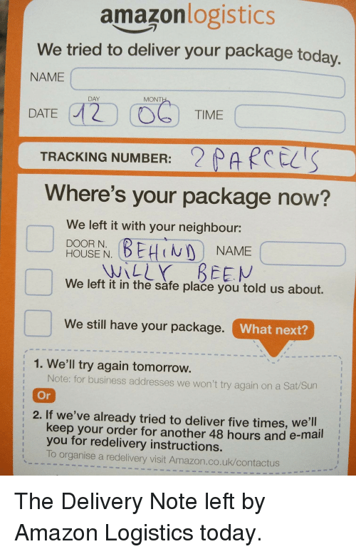Amazonlogistics We Tried To Deliver Your Package Toda Name Day Mont