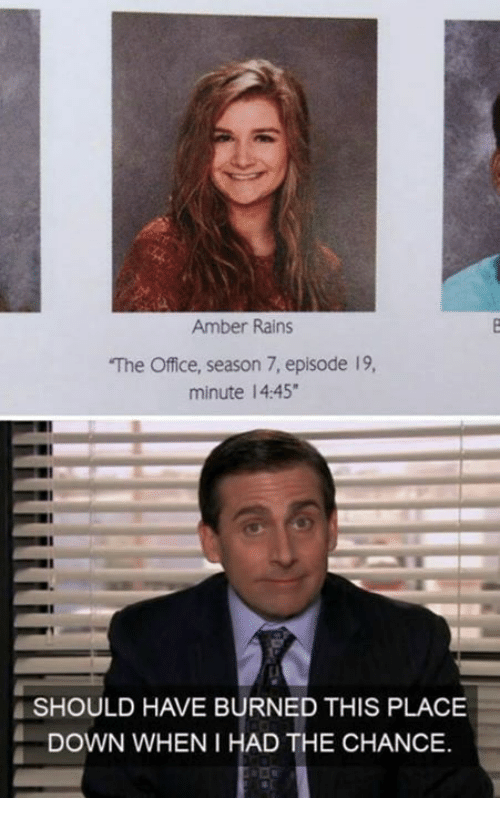 Dank, The Office, and Office: Amber Rains  The Office, season 7, episode 19,  minute 14:45  SHOULD HAVE BURNED THIS PLACE  DOWN WHEN I HAD THE CHANCE.