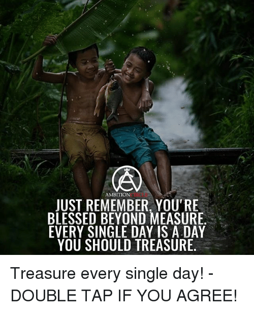Blessed, Memes, and Ambition: AMBITION  CINCLE  JUST REMEMBER, YOU'RE  BLESSED BEYOND MEASURE  EVERY SINGLE DAY IS A DAY  YOU SHOULD TREASURE Treasure every single day! - DOUBLE TAP IF YOU AGREE!