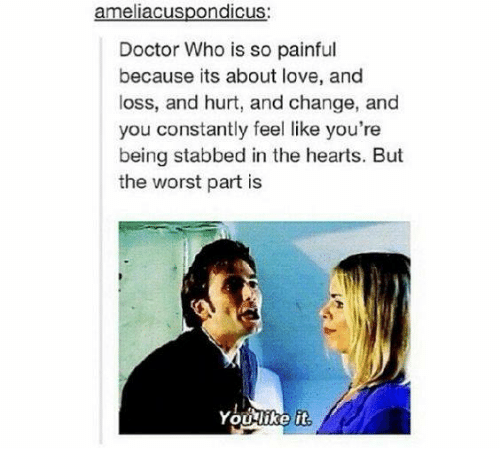Doctor, Love, and Memes: ameliacuspondicus:  Doctor Who is so painful  because its about love, and  loss, and hurt, and change, and  you constantly feel like you're  being stabbed in the hearts. But  the worst part is  You-like it
