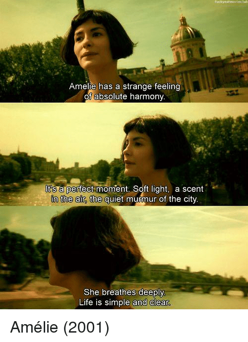 Life, Quiet, and Simple: Amelie has a strange feeling  of absolute harmony.  a perfect moment. Soft light, a scent  In the air, the quiet murmur of the city.  She breathes deeply  Life is simple and clear Amélie (2001)