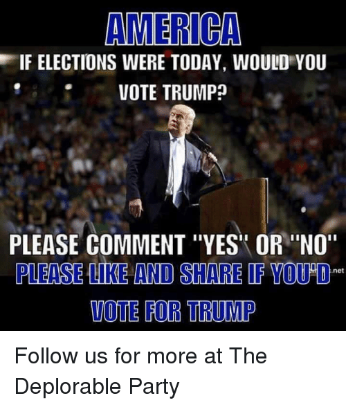 "Memes, 🤖, and Deplorable: AMERICA  EIF ELECTIONS WERE TODAY, WOULD YOU  VOTE TRUMP  PLEASE COMMENT ""YES OR ""NO""  PLEASE LIKE AND SHARE IF YOU O  net  VOTE FOR TRUMP Follow us for more at The Deplorable Party"