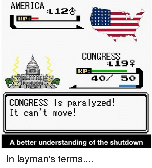 America, Memes, and Understanding: AMERICA  RP  CONGRESS  Lig  EP:  CONGRESS is paralyzed  move  A better understanding of the shutdown In layman's terms....