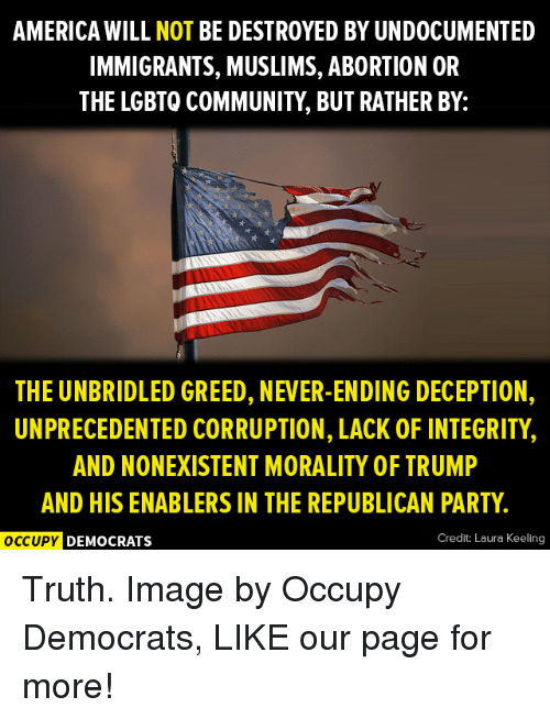 corruption can destroy democracy But the worst threat to our democracy is the republican congress corruption taking place 1) a democracy only works if it's leaders follow the constitution and enforce its rules our country took a nosedive since trump was inaugurated paul ryan and the republican congress are complicit in the destruction of our democracy.