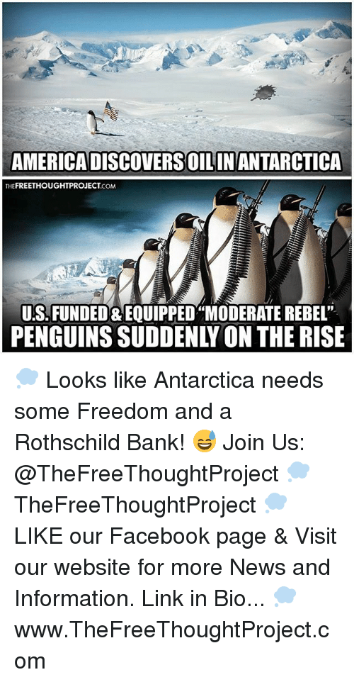 "Facebook, Memes, and News: AMERICADISCOVERSOILINANTARCTICA  FREETHOUGHTPROJECT  THE  .COM  US. FUNDED EQUIPPED""MODERATE REBEL""  PENGUINS SUDDENLY ON THE RISE 💭 Looks like Antarctica needs some Freedom and a Rothschild Bank! 😅 Join Us: @TheFreeThoughtProject 💭 TheFreeThoughtProject 💭 LIKE our Facebook page & Visit our website for more News and Information. Link in Bio... 💭 www.TheFreeThoughtProject.com"
