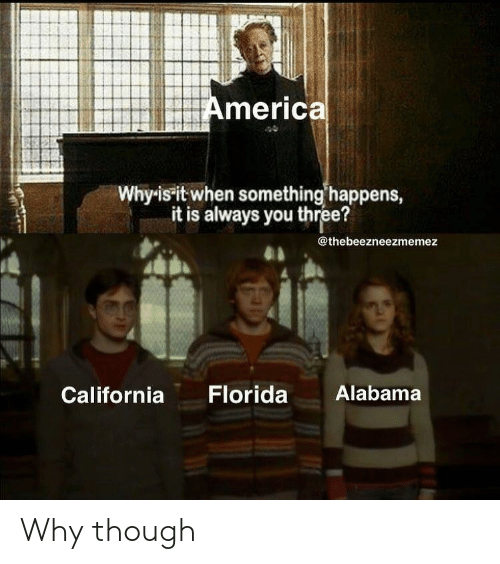 Alabama, California, and Florida: Americal  Why-is it when something happens,  it is always you three?  @thebeezneezmemez  Florida  Alabama  California Why though
