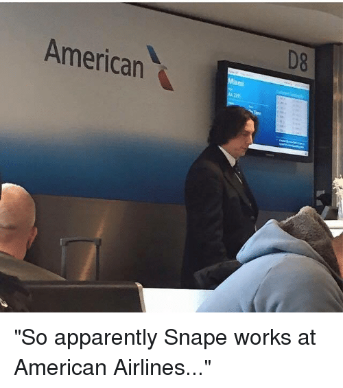 """Dank, 🤖, and Snape: American  aml """"So apparently Snape works at American Airlines..."""""""