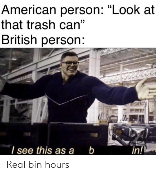 """Trash, American, and Dank Memes: American person: """"Look at  that trash can""""  British person  I see this asa b  in! Real bin hours"""