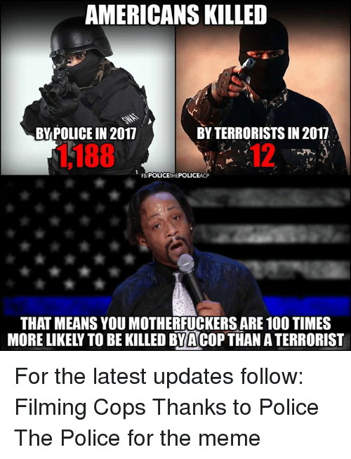 Americans Killed Bypolice In 2017 By Terrorists In 2017 1188 12