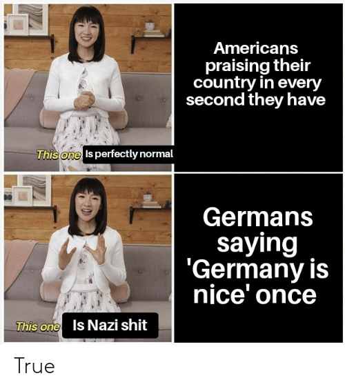 Shit, True, and Germany: Americans  praising their  country in every  second they have  This one Is perfectly normal  Germans  saying  'Germany is  nice' once  This one  Is Nazi shit True
