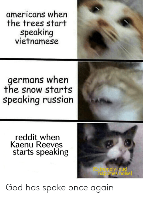 God, Reddit, and Snow: americans when  the trees start  speaking  vietnamese  germans when  the snow starts  speaking russian  reddit when  Kaenu Reeves  starts speaking  Extremely loud  ha pines noise God has spoke once again