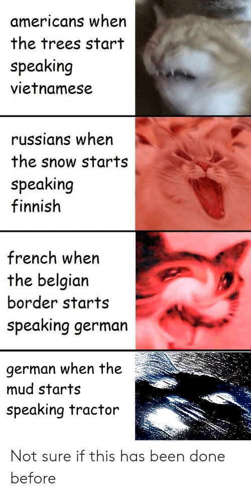 History, Snow, and Trees: americans when  the trees start  speaking  vietnamese  russians wher  the snow starts  speaking  finnish  french when  the belgian  border starts  speaking germarn  german when the  mud starts  speaking tractor  35 Not sure if this has been done before