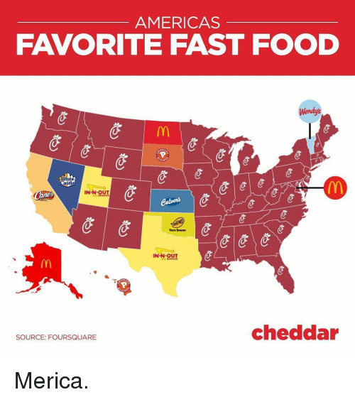 Fast Food, Food, and Memes: AMERICAS  FAVORITE FAST FOOD  Wendy's  hite  Castl  IN-N-OUT  Taco Bueno  IN궷있11  cheddar  SOURCE: FOURSQUARE Merica.