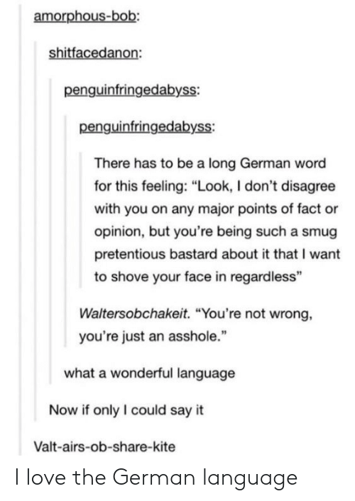 """Love, Pretentious, and Tumblr: amorphous-bob:  shitfacedanon:  penguinfringedabyss:  penguinfringedabyss:  There has to be a long German word  for this feeling: """"Look, I don't disagree  with you on any major points of fact or  opinion, but you're being such a smug  pretentious bastard about it that I want  to shove your face in regardless""""  Waltersobchakeit. """"You're not wrong,  you're just an asshole.""""  what a wonderful language  Now if only I could say it  Valt-airs-ob-share-kite I love the German language"""