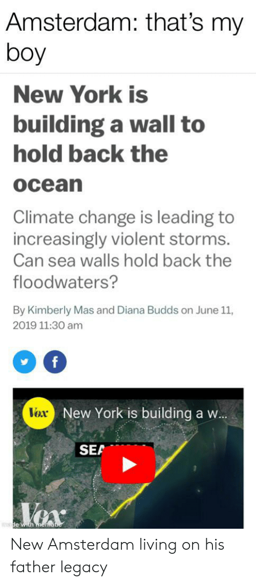 New York, Amsterdam, and History: Amsterdam: that's my  boy  New York is  building a wall to  hold back the  ocean  Climate change is leading to  increasingly violent storms.  Can sea walls hold back the  floodwaters?  By Kimberly Mas and Diana Budds on June 11,  2019 11:30 am  f  New York is building a w...  Vox  SEA  Vex  de with mematie New Amsterdam living on his father legacy