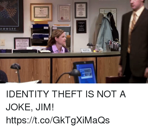 Girl Memes, Identity Theft, and Identity: AMWORK IDENTITY THEFT IS NOT A JOKE, JIM! https://t.co/GkTgXiMaQs