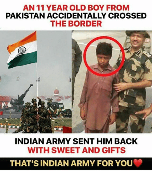 An 11 YEAR OLD BOY FROM PAKISTAN ACCIDENTALLY CROSSED THE