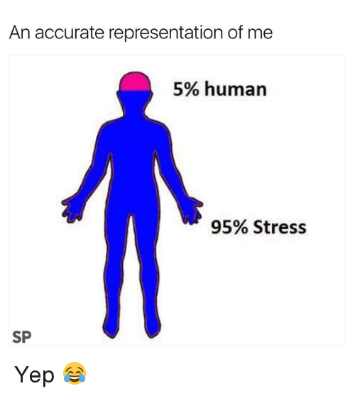 Accurate Representation, Human, and Stress: An accurate representation of me  5% human  95% Stress  SP Yep 😂