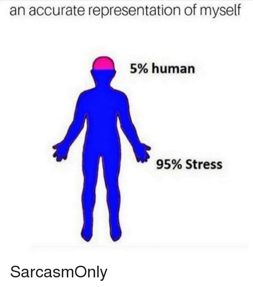 Funny, Memes, and Accurate Representation: an accurate representation of myself  5% human  95% Stress SarcasmOnly