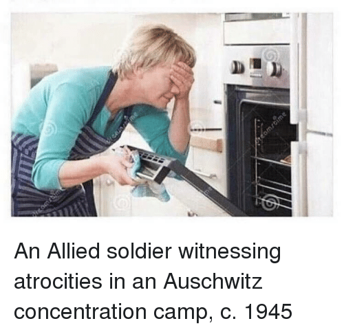 Auschwitz, Camp, and Soldier: An Allied soldier witnessing atrocities in an Auschwitz concentration camp, c. 1945