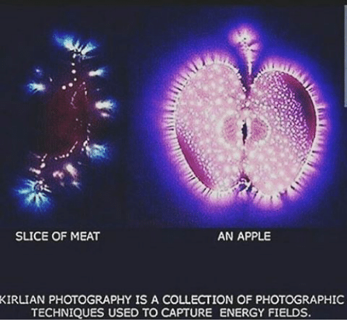 Apple Energy And Memes AN APPLE SLICE OF MEAT KIRLIAN PHOTOGRAPHY IS A