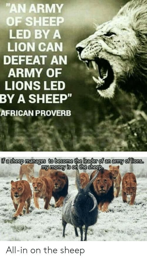 "Money, Army, and Lion: ""AN ARMY  OF SHEEP  LED BY A  LION CAN  DEFEAT AN  ARMY OF  LIONS LED  A SHEEP""  AFRICAN PROVERB  BY  my money is on the All-in on the sheep"