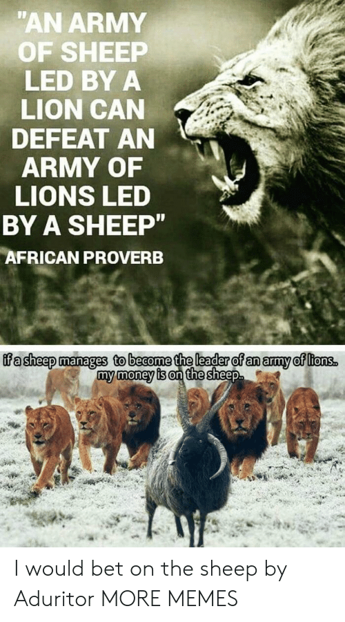 Dank, Memes, and Money: AN ARMY  OF SHEEP  LED BY A  LION CAN  DEFEAT AN  ARMY OF  LIONS LED  BY A SHEEP  AFRICAN PROVERB  ffa sheep manages to beaome the leader of an amy of ltonss  my money is on the sheep I would bet on the sheep by Aduritor MORE MEMES