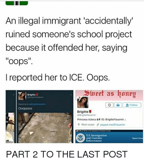 """Memes, School, and West Coast: An illegal immigrant accidentally  ruined someone's school project  because it offended her, saying  """"oops  I reported her to ICE. Oops.  Slueet as honey  Brigitte  Follow  Brigitte  GBrigitteYasamin  Princesa Azteca  H IG: BrigitteYasamin  9 West coast 5 paypal melBYasamin  US Immigration  and Customs  Report Crimes  Enforcement PART 2 TO THE LAST POST"""
