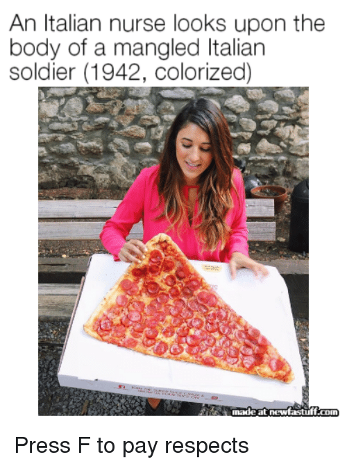 Soldier, Italian, and Press: An Italian nurse looks upon the  body of a mangled Italian  soldier (1942, colorized)  inadeatnewfastuff coin Press F to pay respects