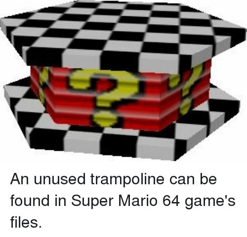 An Unused Trampoline Can Be Found in Super Mario 64 Game's Files