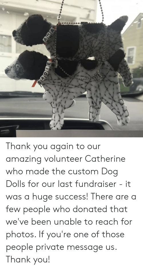Memes, Thank You, and Amazing: ANA  SADIE Thank you again to our amazing volunteer Catherine who made the custom Dog Dolls for our last fundraiser - it was a huge success!  There are a few people who donated that we've been unable to reach for photos.  If you're one of those people private message us.  Thank you!