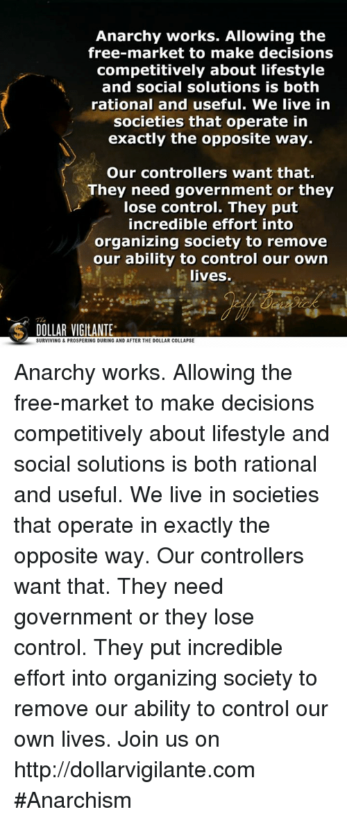 Anarchy Works Allowing the Free-Market to Make Decisions