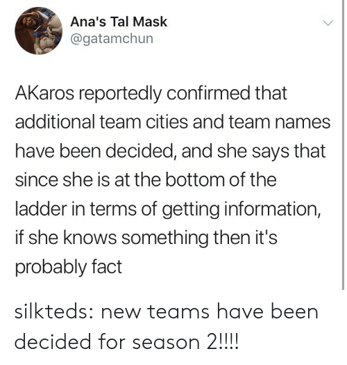 She Knows, Tumblr, and Blog: Ana's Tal Mask  @gatamchun  AKaros reportedly confirmed that  additional team cities and team names  have been decided, and she says that  since she is at the bottom of the  ladder in terms of getting information,  if she knows something then it's  probably fact silkteds:  new teams have been decided for season 2!!!!