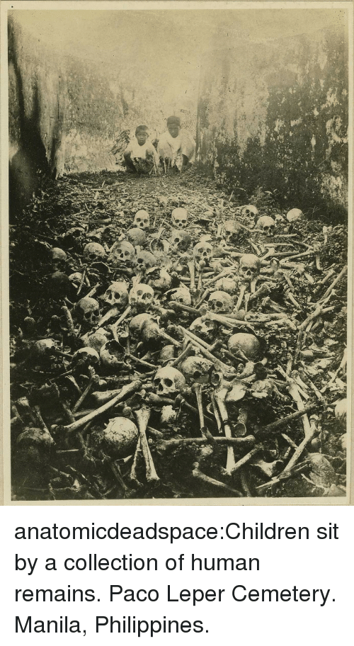 Children, Tumblr, and Blog: anatomicdeadspace:Children sit by a collection of human remains. Paco Leper Cemetery. Manila, Philippines.