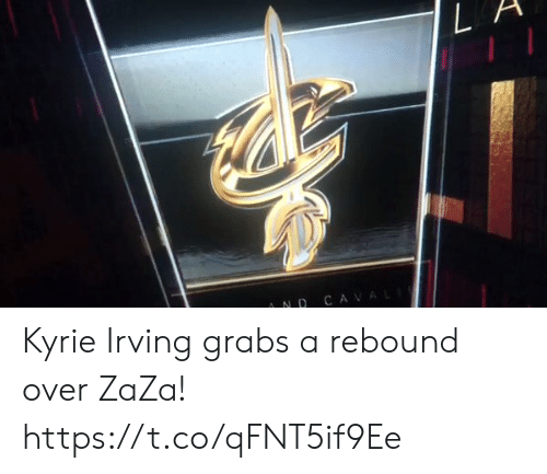 Kyrie Irving, Memes, and 🤖: AND C  L A Kyrie Irving grabs a rebound over ZaZa!   https://t.co/qFNT5if9Ee