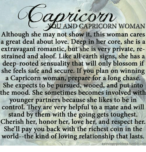 And CAPRICORN WOMAN Although She May Not Show It This Woman Cares a