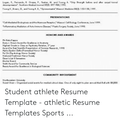 And For Set Soentic Prs Or Coae Student Athlete Resume Template