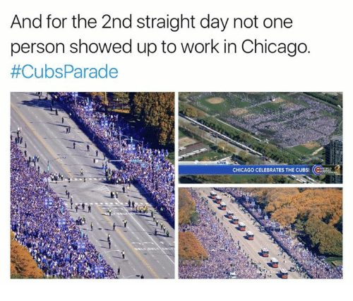 Chicago, Work, and Chicago Cubs: And for the 2nd straight day not one  person showed up to work in Chicago.  #Cubs Parade  CHICAGO CELEBRATES THE CUBS!