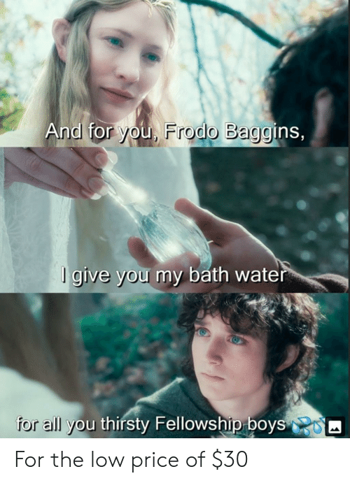 And for You Frodo Baggins Give You My Bath Water All You