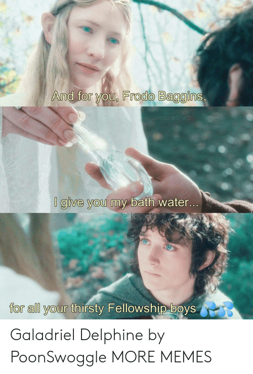 Dank, Memes, and Target: And for you, Frodo Baggins,  LOTHLORIENCE  I give you my bath water...  for all your thirsty Fellowship boys Galadriel Delphine by PoonSwoggle MORE MEMES
