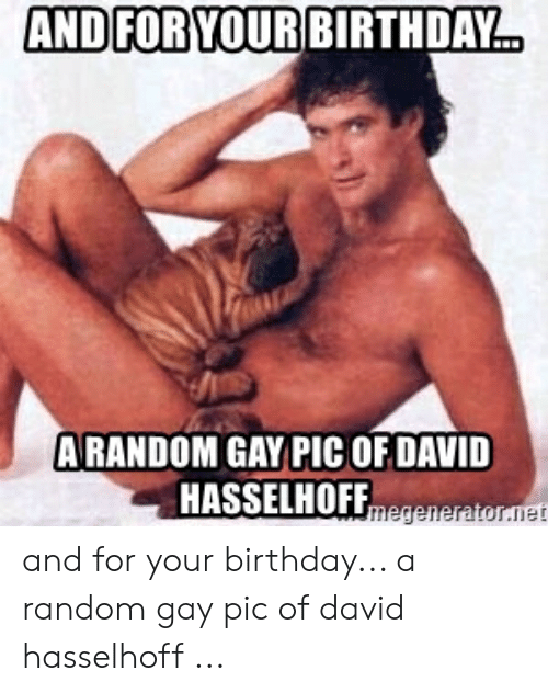 Birthday, David Hasselhoff, and Random: AND FOR YOUR BIRTHDAY..  ARANDOM GAY PIC OF DAVID  HASSELHOFFmegeneratornet and for your birthday... a random gay pic of david hasselhoff ...