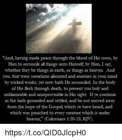 """Heaven, Memes, and Cross: """"And, having made peace through the blood of His cross, by  Him to reconcile al things unto Himself, by Him, I say,  whether they be things in earth, or things in heaven. And  you, that were sometime alienated and enemies in your mind  by wicked works, yet now hath He reconciled In the body  of His flesh through death, to present you holy and  unblameable and unr  eproveable in His sight: If ye continue  in the faith grounded and settled, and be not moved away  from the hope of the Gospel, which ye have heard, and  which was preached to every creature which is under  heaven"""" (Colossians 1:20-23, KJV) https://t.co/QID0JIcpH0"""