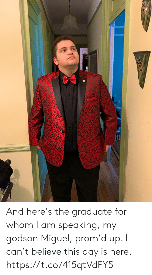 Memes, Miguel, and 🤖: And here's the graduate for whom I am speaking, my godson Miguel, prom'd up.  I can't believe this day is here. https://t.co/415qtVdFY5