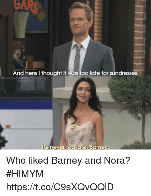 Barney, Memes, and Never: And here I thought it was too late for sundresses.  howimetyourmotherthefanpage  rs never too late, Bamey Who liked Barney and Nora? #HIMYM https://t.co/C9sXQvOQlD