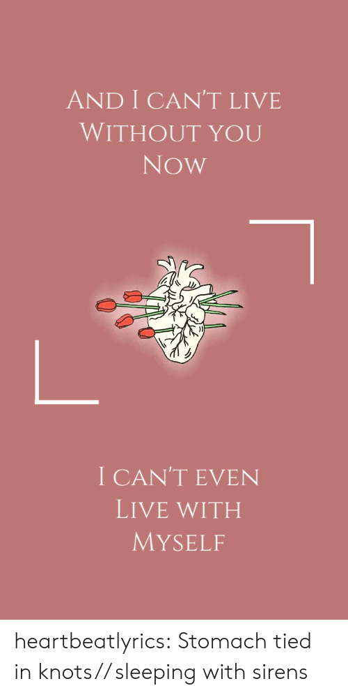 Tumblr, Blog, and Live: AND I CAN'T LIVE  WITHOUT YOU  Now  I CAN'T EVEN  LIVE WITH  MYSELF heartbeatlyrics: Stomach tied in knots// sleeping with sirens