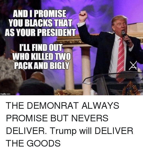 Memes, Black, and Blacked: AND I PROMISE  YOU BLACKS THAT  AS YOUR PRESIDENT  ILL FIND OUT  WHO KILLED TWO  PACK AND BIGLY THE DEMONRAT ALWAYS PROMISE BUT NEVERS DELIVER. Trump will DELIVER THE GOODS